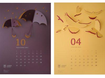 Настенный календарь с фигурным фризом объектов